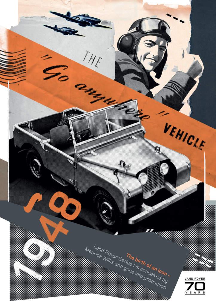 Affischer som visar några milstolpar i Land Rovers historia.